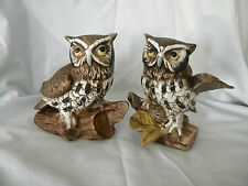 PAIR OF HOMCO HOME INTERIORS VINTAGE OWL FIGURINES PORCELAIN