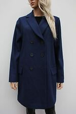 Asos Casual Blue Wool Military Button Trench Pea Coat Size 14 42 US 10 New