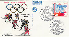 ENVELOPPE 1 er jour timbrée JEUX OLYMPIQUES D'HIVER CALGARY 1988 HOCKEY GLACE