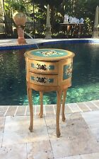 Antique Vtg Italian Florentine Round Side Table Rare Size And Color.