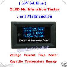 OLED Tester Power Meter Monitor Capacity Energy Voltmeter Ammeter Time Temp 12V