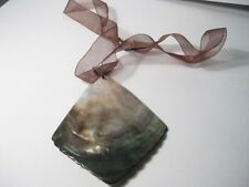 Brown Abelone or Mother-of-Pearl Polished Shell Ribbon Necklace - very nice