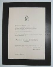 █ Faire-Part décès 1916 Mr Charles BAUDOIN industriel filature Luxueil-les-Bains