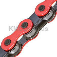 "KMC Z510H BMX fixie single speed bicycle chain 1/2"" X 1/8"" 112L BLACK & RED"