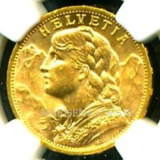 SWITZERLAND 1902 B GOLD COIN 20 FRANCS * NGC CERTIFIED GENUINE MS 63 SPECTACULAR