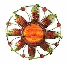 Bejeweled Display® Sun Face w/ Stain Glass Wall Art Plaque Home Decorati... NEW
