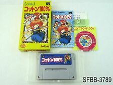 Complete Cotton 100% w/CD Super Famicom Japanese Import CIB Boxed US Seller B