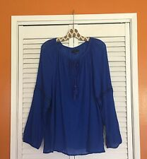 22/24 2X/3X New Lane Bryant Cotton Gauze Peasant Top Blue Long-sleeve