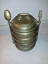 Vintage Asian India Antique Hand Crafted Brass Tiffin Food Box