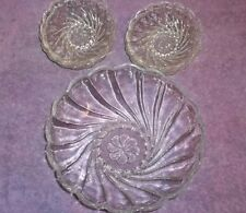 Vintage Clear Glass Large SWIRL Berry Bowl and 6 Small SWIRL Berry Bowls  R
