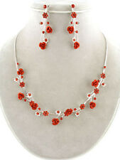 4d Contemporary Bridemaid Siam Crystal & Red Metal Rose Floral Vine Necklace Set