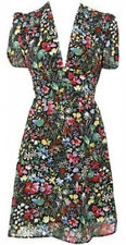 Topshop Floral Tropical Flower Print 40s Vintage Crepe Tea Dress 8 + 10 36 38 S