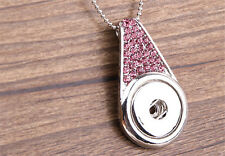 2016 HOT Pink Rhinestone DIY NOOSA Alloy pendant fit 18MM snap buttons OB99
