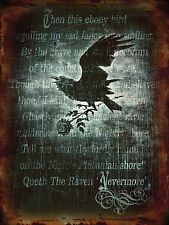 A4 SIZE - ALCHEMY GOTHIC NEVER MORE BLACK RAVEN TIN SIGN METAL WALL PLAQUE 974