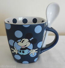 Disney Parks Mickey Mouse Coffee Mug Cup With Original Spoon Blue Polka Dots
