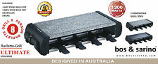 BOS & SARINO Party Raclette Grill Hot Plate Teppanyaki BBQ 8 Person 2 Cook Tops