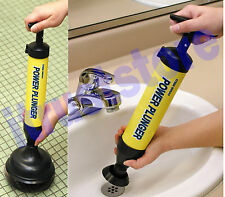 Powered Plumbing Sewer Sink Shower Drain Trap Cleaner Large & Small Plunger Tips