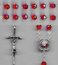 Padre Pio Ruby Red Iridescent Crystal Rosary