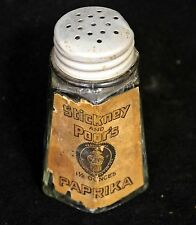 """Old Stickney and Poor's glass paprika spice 1 1/2 ounce shaker, empty 3 1/2"""""""