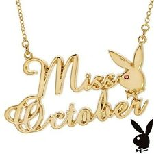 Playboy Necklace MISS OCTOBER Bunny Pendant Gold Plated Playmate Month Jewelry