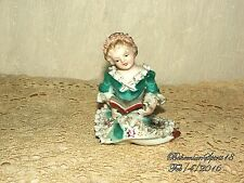 Antique Vintage GERMAN Porcelain China GIRL READING A BOOK MINIATURE 4.5'' DOLL