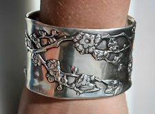 Antique Solid Sterling Silver 925 Chinese Export Plum Blossom Cuff Bracelet Wide