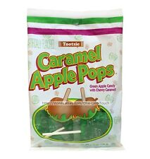 TOOTSIE 3.75 oz Bag CARAMEL APPLE POPS Green Candy+Caramel LOLLIPOPS Exp.8/17+