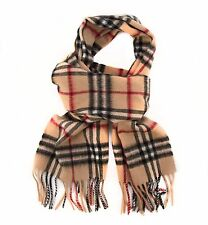 Burberry 100% Cashmere Camel Check Fringe Scarf