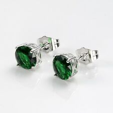 18k White Gold Filled Charm Earrings 8mm Green Lovely Earstud Fashion Jewelry