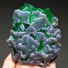 382g Nice Color--Natural Green Octahedral Fluorite & Purple Fluorite Symbiosis