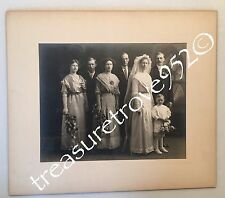 Antique Wedding Photo Bride Groom Ring Bearer Flowers Dress Stained Glass