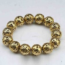 Old Tibet Brass Gold-plated Hand Carved Hollow small ball Bracelet  G941