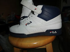 Mens Fila  F-13 Classic Mid High Top Basketball Shoes Sneakers White blue