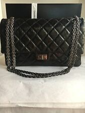 Auth Preloved Chanel Reissue 2.55 Classic Flap Bag Black Metallic Size 226.