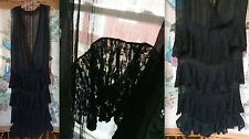 VTG ANTIQUE 10s 20s BLACK SHEER SILK CHIFFON CREPE LACE RUFFLE DRESS GOWN TLC