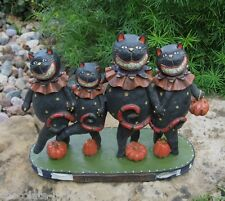 Dancing BLACK CATS w/Pumpkins STATUE*Primitive Folk Art Whimsical Decor*NEW!