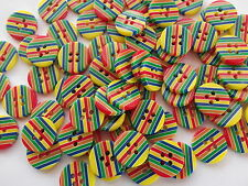 40 x  4 HOLE STRIPE RESIN 15mm SEWING BUTTONS, SCRAPBOOKING, CRAFT ETC.,
