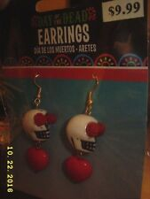 Day of the Dead Dia de los Muertos Heart skull Earrings Halloween Costume set