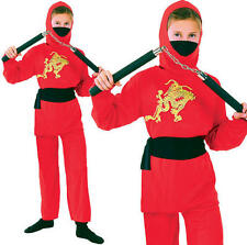 Childrens Kids Red Ninja Fancy Dress Costume Samurai Childs Outfit Book Week L