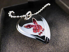 "Super Cool Playboy ""Dog Tag"" Crystal Pink Heart and Silver Bunny Necklace Boxed"