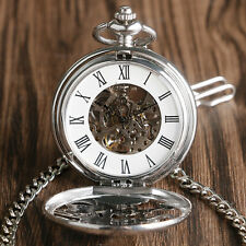 Silver Steampunk Skeleton Mechanical Pendant Pocket Watch Chinese Dragon Gift
