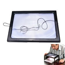 Large A4 Page Hands Free 3x Magnifying Glass With Light LED Magnifier Reading vv