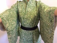 Vintage authentic handmade Japanese green kimono for women, Japan import (J562)