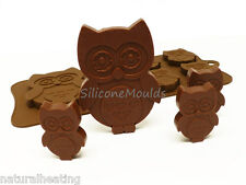 OWL OWLS Birds Reto Pretty Chocolate Silicone Bakeware Mould Candy Cake Mold Tin