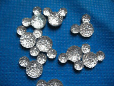 10 X 14MM SILVER GLITTER FLAT BACK RESIN MINNIE MOUSE HEAD GEMS EMBELLISHMENTS