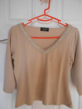 Cream with studs detail 3/4 Sleeve Top Principles Petite Size 12