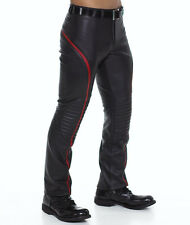New Genuine Leather Male Pants with Piping Stripe Red Black Quilted Knee trouser
