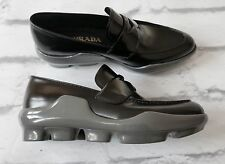 So Cool: Prada Black Leather Grey Rubber Sole Loafers Flats New w/Box IT37/UK4