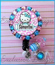 CUSTOM NAME HELLO KITTY NURSE BLING ID REEL BADGE HOLDER