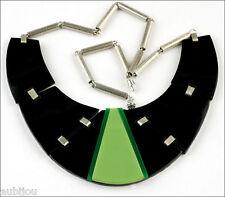 FRENCH DESIGNER ART DECO CHROME GREEN BLACK GALALITH CHOKER COLLAR NECKLACE